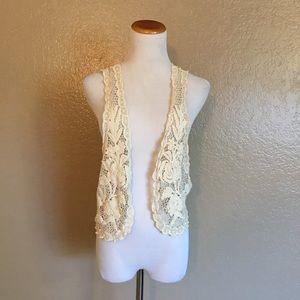 Knit Crochet Floral Lace Bright Crop Vest
